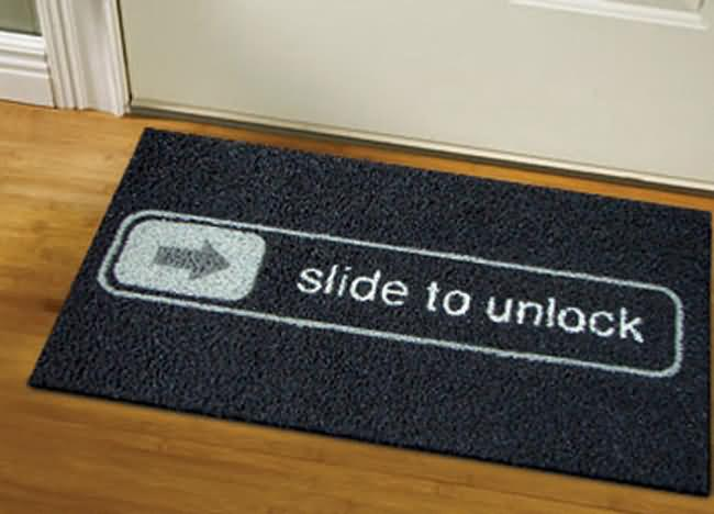 "The ""Slide To Unlock"" Doormat"