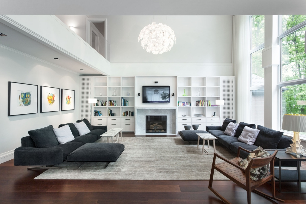 The outstanding sweet black white modern living room design