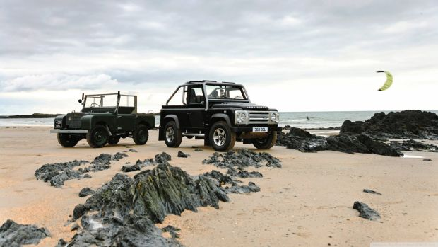 The classic and the latest version of Land Rover.